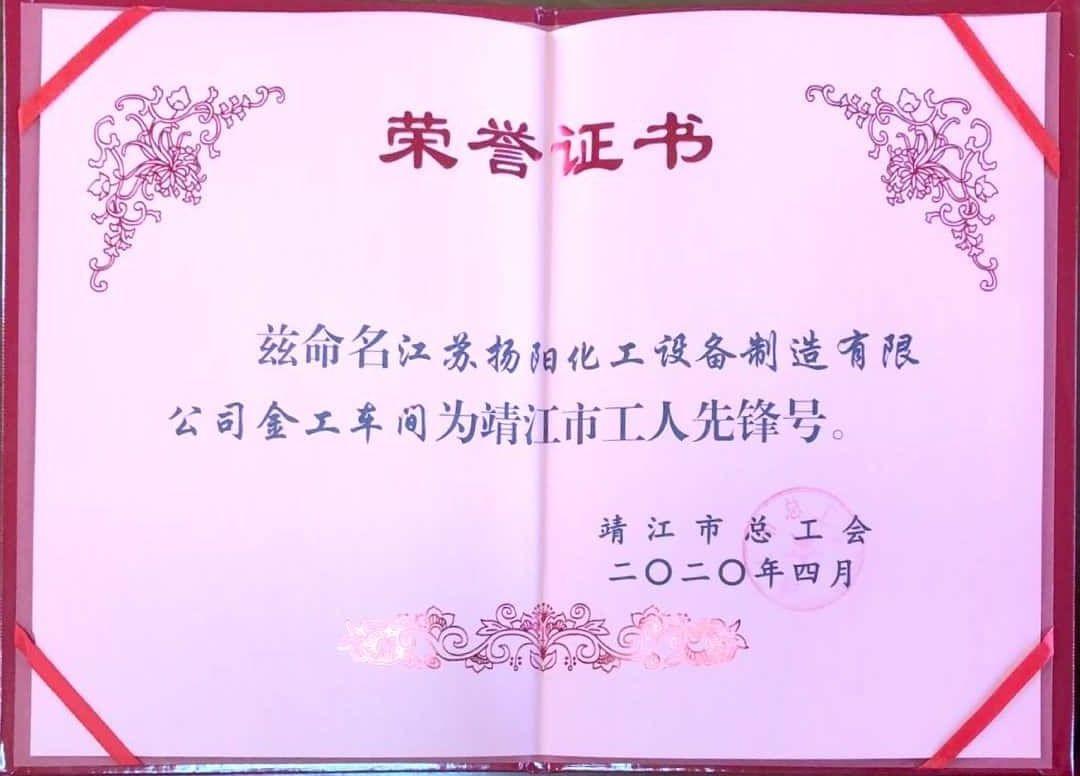 江苏扬阳公司金工车间获靖江市工人先锋号称号